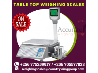 Table top type price barcode printing scale with PC software at low price Wandegeya