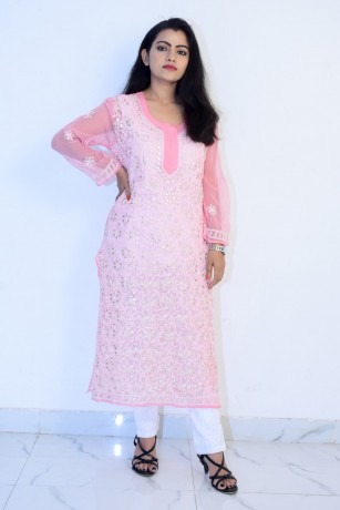 buy-hand-embroidered-lucknowi-chikan-light-pink-georgette-kurti-big-0